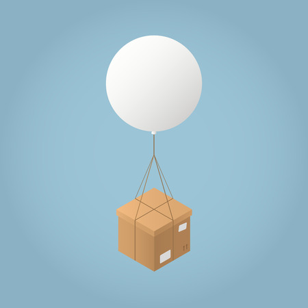 Vector isometric mail delivery concept illustration. Cardboard box are delivered by flying balloon.