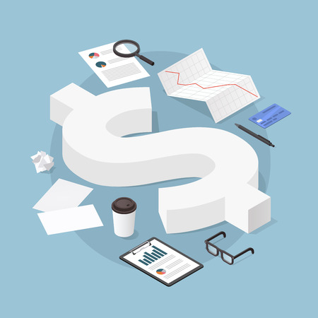 Vector isometric financial illustration. Big dollar sign surrounded business related objects - charts, papers, credit card, documents, glasses, and coffee. Money and investing concept.
