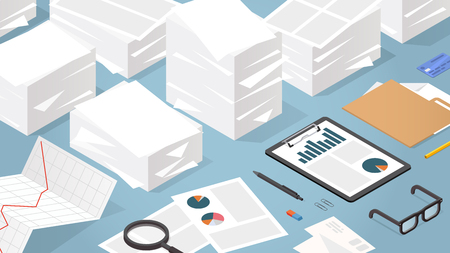 Vector isometric illustration of working with documents. Big stacks of paper with folder, glasses, documents, charts, file, magnifier.  Analysing and researching creative process concept. Фото со стока - 124534526