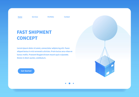 Vector isometric mail delivery illustration. Cardboard box are delivered by flying balloon. Landing page concept Фото со стока - 124534528