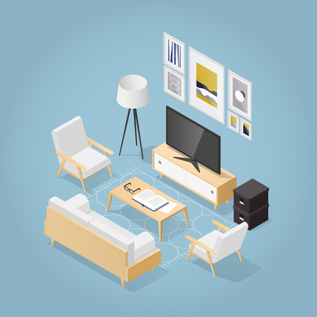 Vector isometric living room in mid century style. Sofa with pillows, chair, poster and book shelf on the wall, coffee table with vase open book and glasses, rug on the floor. Detailed illustration. Фото со стока - 124534530