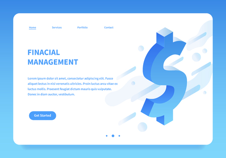 Vector isometric financial illustration. Big dollar sign abstract futuristic background. Money and investing landing page concept.