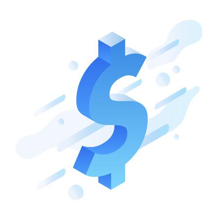 Vector isometric financial illustration. Big dollar sign abstract futuristic background. Illustration