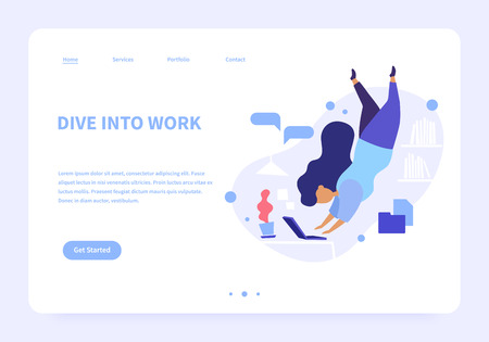 Flat concept illustration of woman diving to her laptop for work, abstract office on the background. Modern flat style landing page.