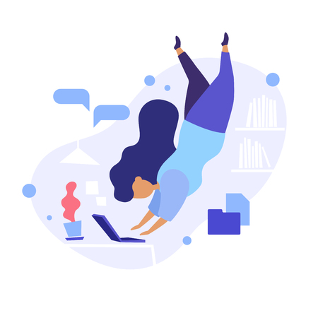 Flat concept illustration of woman diving to her laptop for work, abstract office on the background. Modern flat style. Иллюстрация