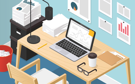 Isometric vector illustration of office workplace. Interior set: office desk, modern chair, pictures, notes and diagrams, documents, papers, laptop, lamp, trash bin, folder, stationery, glasses, box.