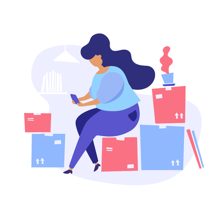 Concept illustration of moving to a new house. Woman with smartphone sitting on packed cardboard boxes.