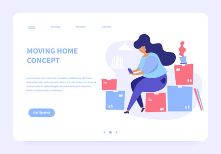 Flat illustration of moving house service. Woman with smartphone sitting on packed cardboard boxes. Landing page concept Illustration