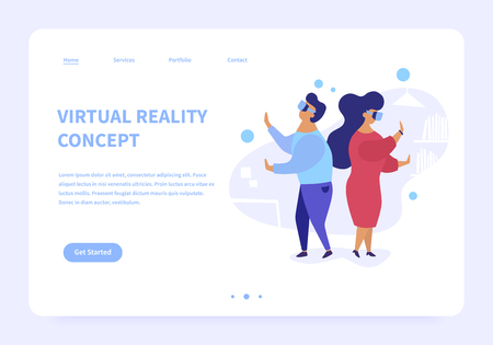 Flat illustration of virtual reality. Man and woman at home wearing virtual reality glasses. Modern landing page concept.