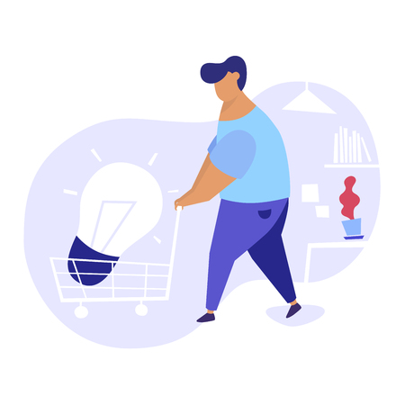 Flat illustration of men bringing big light bulb in a cart in an office. We have solution modern concept illustration.