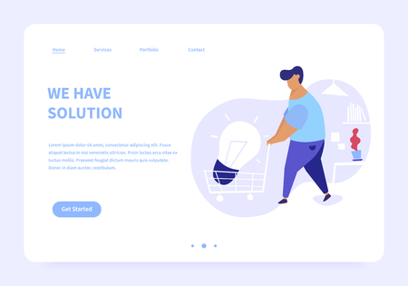 Flat illustration of men bringing big light bulb in a cart in an office. We have solution modern landing page concept illustration. Illusztráció