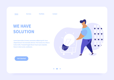 Flat illustration of men bringing big light bulb in a cart from a storage of ideas. We have solution modern landing page concept illustration. Illusztráció