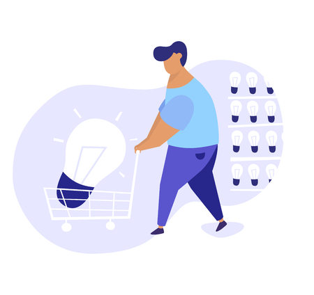 Flat illustration of men bringing big light bulb in a cart from a storage of ideas. We have solution modern concept illustration. Illusztráció