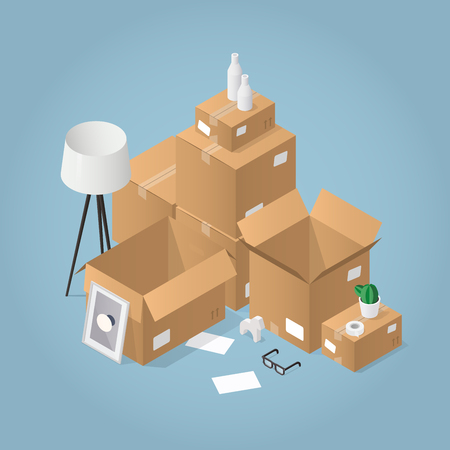 Isometric detailed concept illustration of moving to a new house. Open cardboard boxes of different size with framed picture, books, basketball, lamp and glasses.