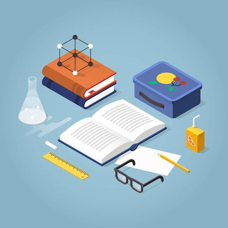 isometric school homework concept illustration. Open books, backpack, papers and, stationery. Read up for exams. Иллюстрация