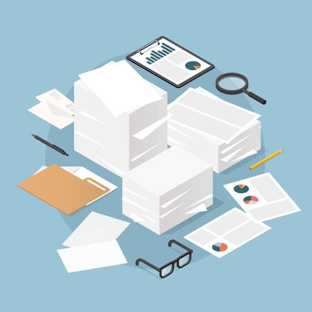 illustration of working with documents. Big stacks of paper and folders with glasses, documents, charts, magnifier.  Analyzing and researching creative process concept. Иллюстрация