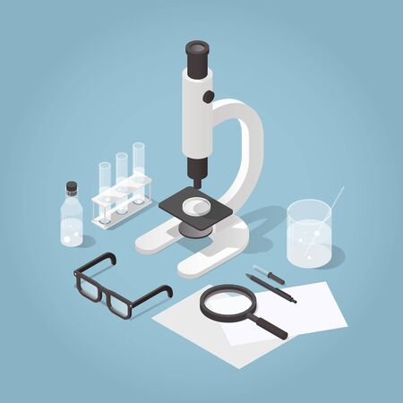 chemical laboratory illustration. Science experiment in process. Microscope with test tubes, bottles, chemistry equipment, glasses and magnifier. Çizim