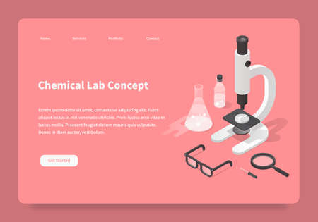 Homepage with detailed isometric illustration of chemical laboratory during research process - various scientific equipment: microscope, test tubes, jar, dropper, flasks, beaker, bottle, magnifier.
