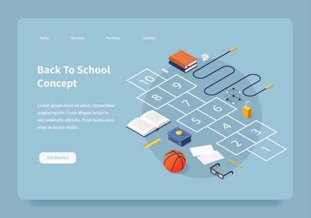 Homepage concept with isometric illustration of school break in the schoolyard. Hopscotch surrounded with school kid stuff: books, skipping rope, basketball, glasses, lunchbox, juice and chalk.