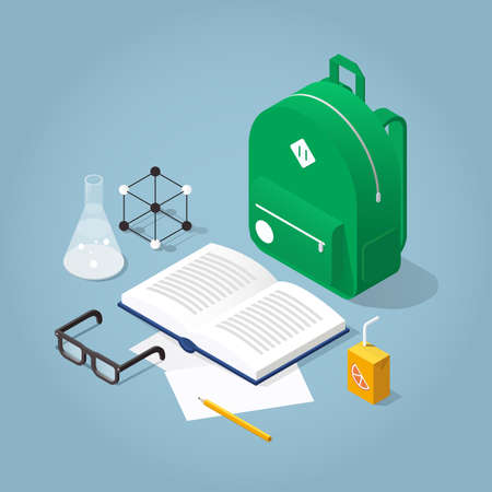 Vector isometric school homework concept illustration. Open books, backpack, papers and, stationery. Read up for exams.