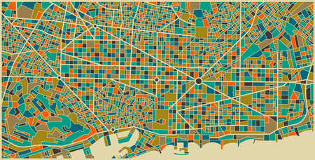 Barcelona vector map. Colorful vintage design base for travel card, advertising, gift or poster. This map is based on a real city plan, but not intended to be precise.