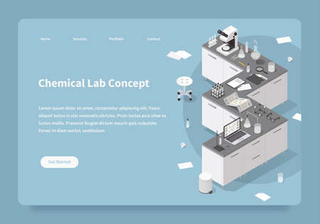 Homepage with detailed isometric illustration of chemical laboratory during research process - tables with various scientific equipment: microscope, test tubes, jar, dropper, flasks, beaker, bottles.