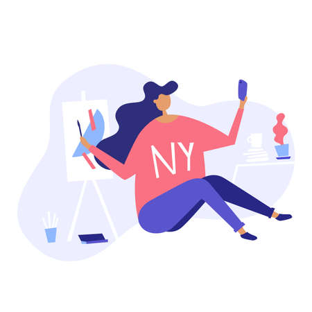 Vector isometric illustration of a female artist sharing her work on social media. Girl in NY sweater painting abstract art on canvas with paint and brushes all around her. 向量圖像