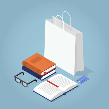 Vector isometric book store illustration. Shopping bag with stack of books, open book, reading glasses and credit card. Book sale concept.