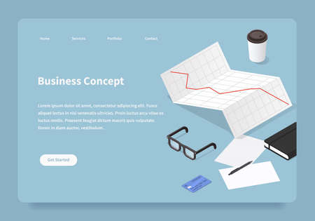 Vector isometric office work homepage. Stock diagram with papers, credit card, parers and glasses. Baking and stock exchange concept. Illustration is under mask and can be adjusted whatever you prefer