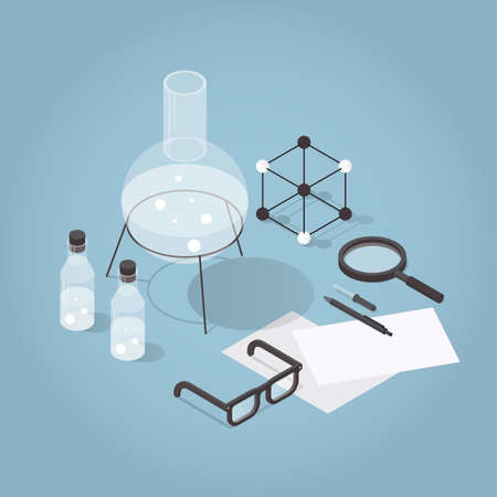 Vector isometric chemical laboratory illustration. Science experiment in process. Test tubes, bottles, chemistry equipment, glasses, molecular grid and magnifier.