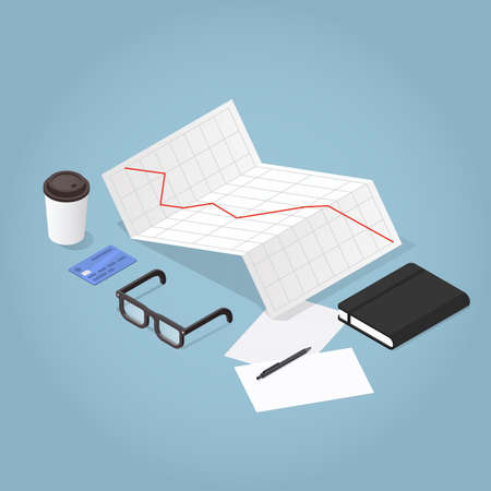 Vector isometric business concept illustration. Stock exchange chart with rates going up, credit card, papers, glasses, notebook. Analysing and researching creative process concept. 向量圖像