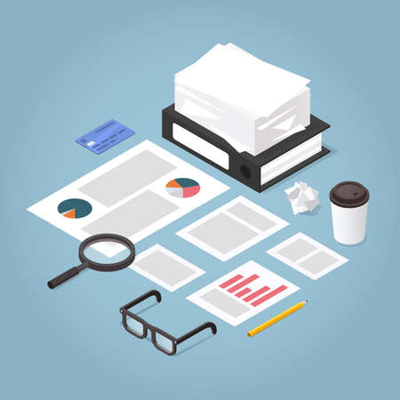 Vector isometric illustration of working with documents. Big stacks of paper, folder, contract, documents, magnifier, glasses, office supplies. Analysing and business planning concept.