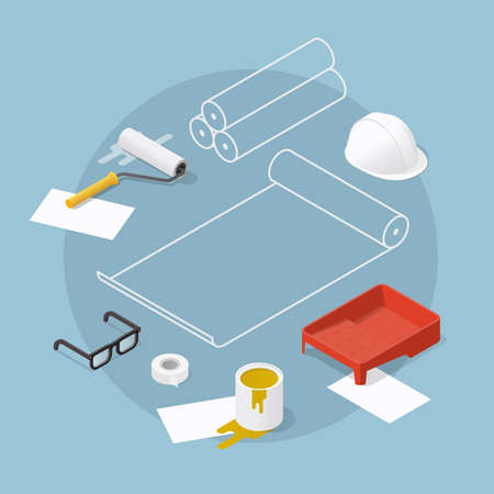 Isometric vector home renovation illustration. Set of objects for wallpaper sticking and painting: paint roller, masking tape, tray, roll of wallpaper, helmet. Renovation and reconstruction concept.