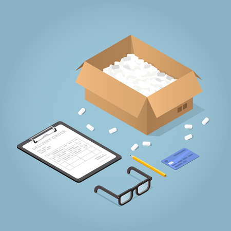 Vector isometric concept illustration of delivered online purchases. Cardboard box, a clipboard with delivery form and angled pencil, glasses and credit card.