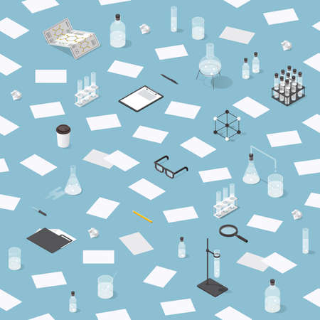Vector isometric chemical laboratory seamless pattern. Test tubes, microscope, bottles, chemistry equipment, glasses, folders, molecular grid and magnifier.