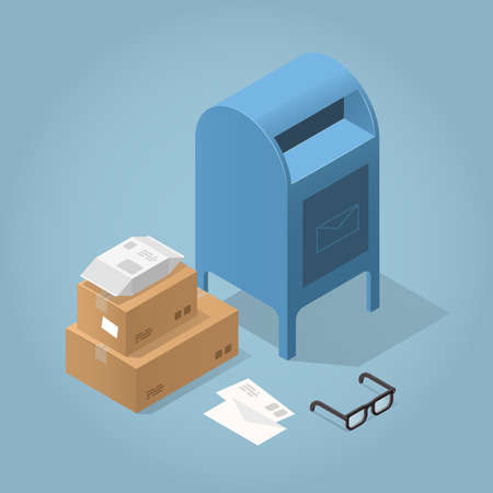 Vector isometric concept illustration of delivered purchases. Mail box, cardboard boxes, package and mail and glasses.