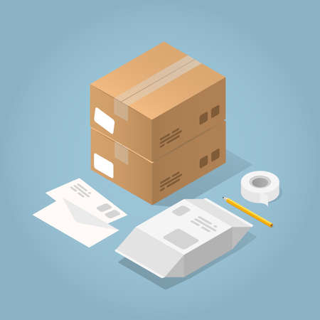 Vector isometric concept illustration of delivered purchases. Two cardboard boxes, letters, package, adhesive tape and pencil. 向量圖像
