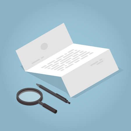 Vector isometric contract concept illustration. Unfolded document with pen and magnifier.