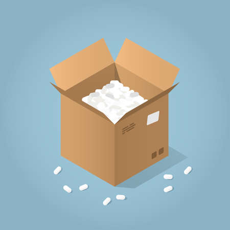 Vector isometric illustration of open cardboard box with filler around. Delivery and packaging concept.