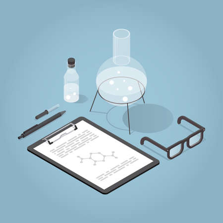 Vector isometric chemical laboratory illustration. Science experiment in process. Test tubes, bottles, chemistry equipment, clipboard and glasses.