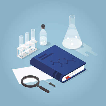 Vector isometric chemical laboratory illustration. Science experiment in process. Test tubes, bottles, chemistry equipment, book and magnifier.