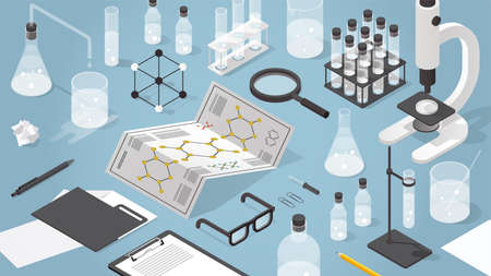 Vector isometric chemical laboratory illustration. Science experiment in process. Test tubes, microscope, bottles, chemistry equipment, glasses, molecular grid and magnifier.