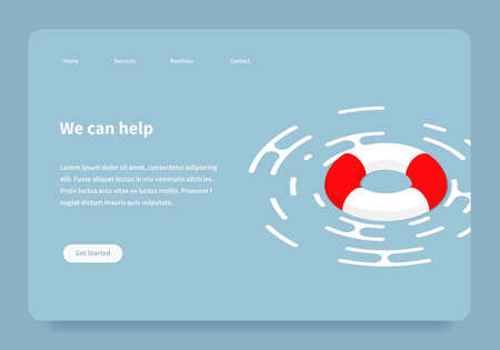 Vector isometric illustration of a lifebuoy floating on a surface. Red and white lifebuoy emergency assistance to a customer landing page concept.