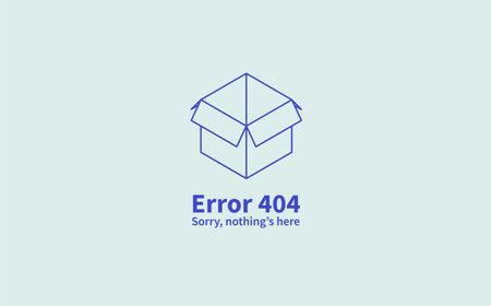 Vector isometric concept web error page. Page 404 with inscription, description. Open empty box. Vector illustration. 向量圖像