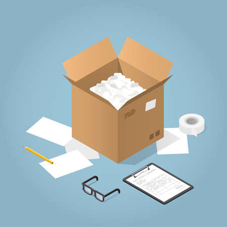 Vector isometric concept illustration of delivered purchases. Open cardboard box and a clipboard with delivery form, pencil, adhesive tape, paper and glasses.