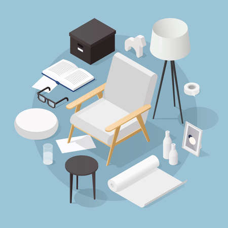 Vector isometric home decor illustration. Different decorative objects - armchair, floor lamp, vase, coffee table, paper box, sculpture, framed art, book, glasses. Cozy and beautiful house concept.
