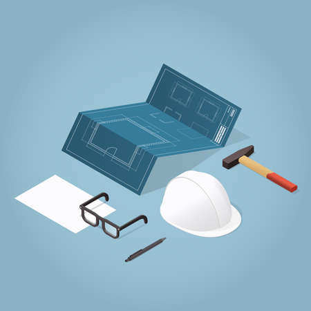 Isometric vector house construction illustration. Blueprint of a house, workers helmet, paper and hammer. Repair and renovation concept. 向量圖像