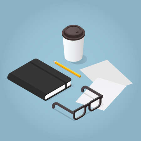 Vector isometric journaling illustration. Notebook with pencil, glasses, papers an d cup of coffee. 向量圖像