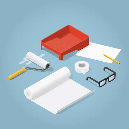 Isometric vector room renovation illustration. Set of objects for wallpaper sticking: paint roller, masking tape, glue tray, roll of wallpaper, glasses. Renovation and reconstruction concept.