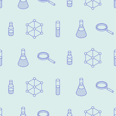 Vector isometric chemical laboratory seamless pattern. Test tubes, bottles, chemistry equipment, molecular grid and magnifier.
